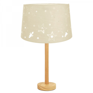 """Stylish Light Rubber Wood Table Lamp with 12"""" Cream Star Cotton Kids Lamp Shade"""