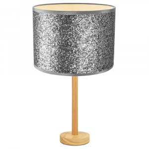"""Stylish Light Rubber Wood Table Lamp with 12"""" Bright Silver Glitter Lamp Shade"""