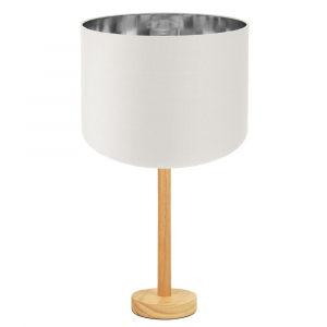 """Stylish Light Rubber Wood Table Lamp with 12"""" White Shade with Shiny inner"""