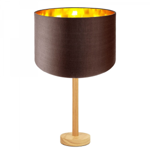 """Stylish Light Rubber Wood Table Lamp with 12"""" Brown Shade with Shiny Inner"""