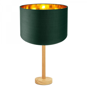 """Stylish Light Rubber Wood Table Lamp with 12"""" Green Shade with Shiny Inner"""