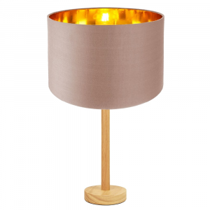 """Stylish Light Rubber Wood Table Lamp with 12"""" Taupe Lamp Shade with Copper Inner"""