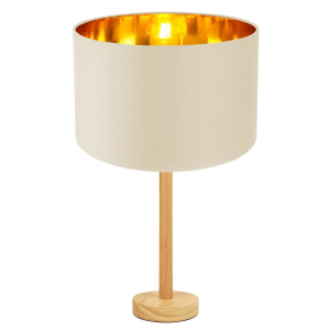 """Stylish Light Rubber Wood Table Lamp with 12"""" Cream Lamp Shade with Copper Inner"""
