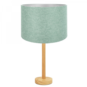"""Stylish Light Rubber Wood Table Lamp with 12"""" Mint Linen Fabric Drum Shade"""