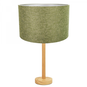 """Stylish Light Rubber Wood Table Lamp with 12"""" Olive Sage Fabric Drum Shade"""