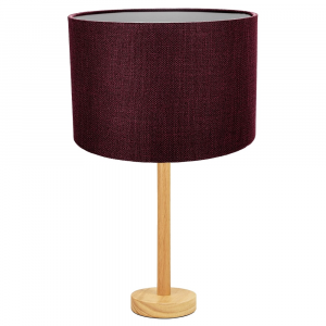 """Stylish Light Rubber Wood Table Lamp with 12"""" Purple Linen Drum Lamp Shade"""