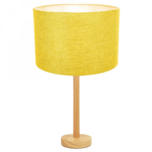 """Stylish Light Rubber Wood Table Lamp with 12"""" Yellow Linen Drum Lamp Shade"""