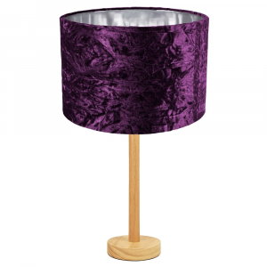 """Stylish Light Rubber Wood Table Lamp with 12"""" Purple Crushed Velvet Lamp Shade"""