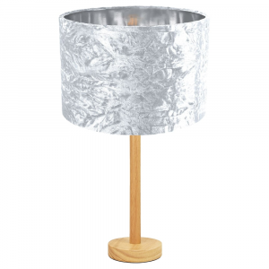 "Stylish Light Rubber Wood Table Lamp with 12"" White Crushed Velvet Lamp Shade"