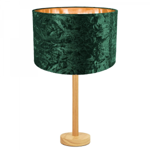 """Stylish Light Rubber Wood Table Lamp with 12"""" Green Crushed Velvet Shade"""