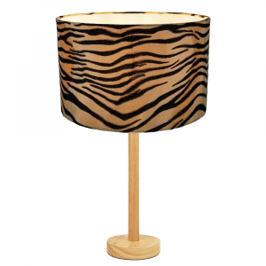 """Stylish Light Rubber Wood Table Lamp with 12"""" Brushable Velvet Tiger Print Shade"""