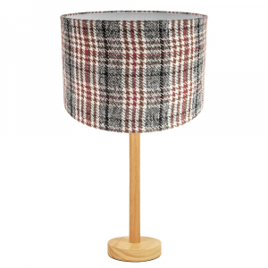 """Stylish Light Rubber Wood Table Lamp with 12"""" Red and Brown Tartan Drum Shade"""