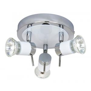 Modern White/Chrome Halogen Bathroom Ceiling Spot Light IP44 Rated