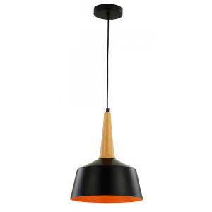 Black Pendant Light with Wood Effect Stem and Golden Inner Shade