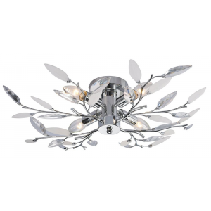 Modern Birch Semi Flush Ceiling Light with Clear & White Leaves