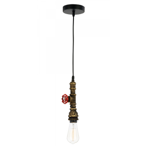 Industrial Black and Gold Pendant Ceiling Light with Red Screw