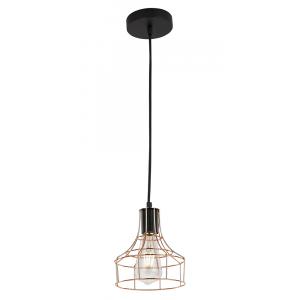 Copper Plated Pendant Ceiling Light with Unique Cage Design