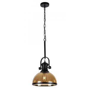 Industrial Black Pendant Ceiling Light with Amber Acrylic Shade