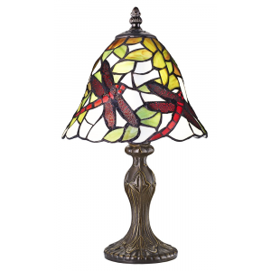 Red Dragonfly Tiffany Table Lamp with Cast Resin Bronze Base