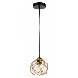 Contemporary Clear Glass Pendant Light with Rope Decoration