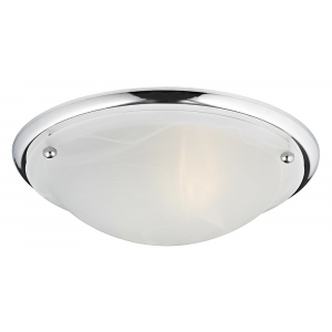 IP44 Polished Chrome & Alabaster Glass Bathroom Ceiling Light