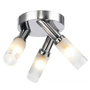 Compact IP44 Low Energy Halogen Chrome Bathroom Ceiling Light