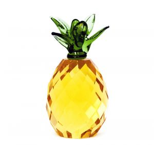 Pure Crystal Glass Gold Pineapple with Green Top Ornament