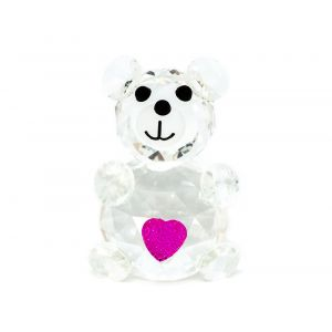 Delicate Clear Crystal Teddy Bear Ornament with Pink Glitter Heart