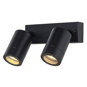 Modern Double Spot Outdoor IP44 Wall Light Fitting in Matt Black