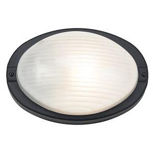 Stylish Matt Black Outdoor Oval Bulkhead Wall or Ceiling Light