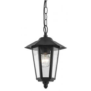 Contemporary Black Die-Cast Hanging Lantern Porch Light Fitting