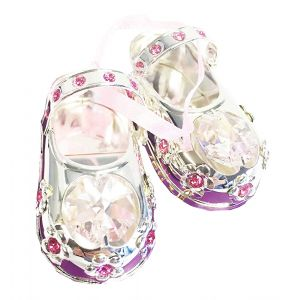 Silver Plated Crystal Baby Shoes with Pink Ribbon and Swarovski Crystal Elements