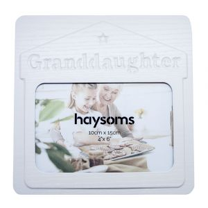 """Granddaughter 4"""" x 6"""" Picture Frame in White Gloss Driftwood Effect MDF"""