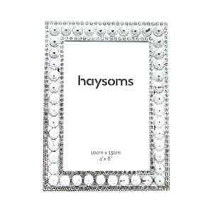 """Square Metal Photo Frame 4"""" x 6"""" Crystal - Silver"""