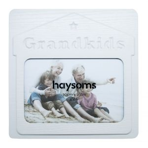 """Grandkids 4"""" x 6"""" Picture Frame in White Gloss Driftwood Effect MDF"""