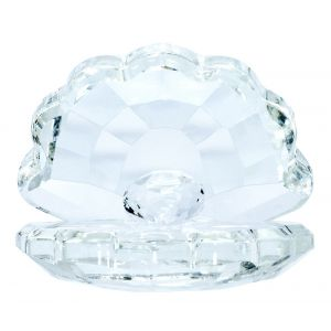 Clear Crystal Glass Open Shell Ornament with Sphere Inside