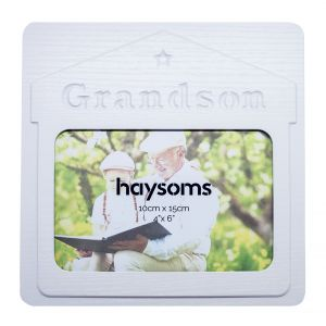 """Grandson 4"""" x 6"""" Picture Frame in White Gloss Driftwood Effect MDF"""
