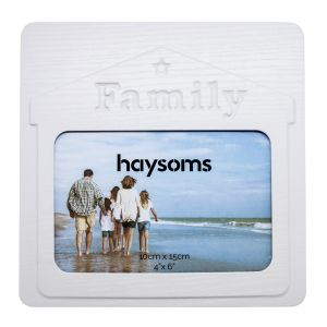 """Family 4"""" x 6"""" Picture Frame in White Gloss Driftwood Effect MDF"""