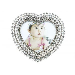 "Small Heart Shaped Silver Plated Photo Frame 3"" x 3"" Crystal"