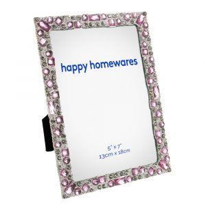 "Modern and Chic Silver Metal 5"" x 7"" Picture Frame with Pink and Clear Crystals"
