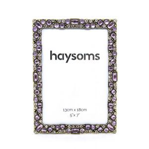 "Square Metal Photo Frame 5""x 7"" Purple - Brass"