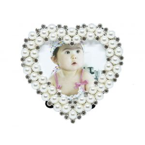 "Small Heart Shaped Photo Frame 3"" x 3"" Pearl - Silver"