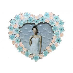 "Flowery Heart Shaped Photo Frame 4"" x 4"" Blue - Pink"