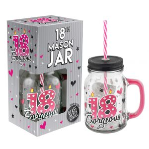 18th Birthday Mason Jar With Metal Lid Glass Handle and Pink/White Straw