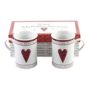 Beautifully Designed 40th Ruby Anniversary Mug Set with Matching Gift Box