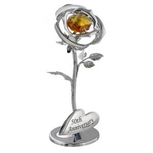 "Modern ""50th Anniversary"" Silver Plated Flower with Golden Crystal Glass"