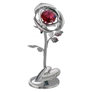 "Modern ""40th Anniversary"" Silver Plated Flower with Red Crystal Glass"