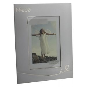 """Modern Two Tone Brushed Silver Niece 6"""" x 4"""" Picture Frame"""