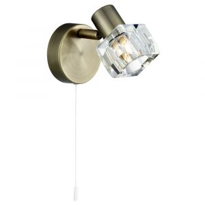 Modern Antique Brass Wall Light with Chunky Ice Cube Shade