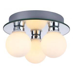 Compact 3 Lamp IP44 Low Energy Halogen Bathroom Ceiling Light